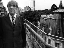 Argentine writer Jorge Luis Borges posing on his house terrace. Buenos Aires, 1977.