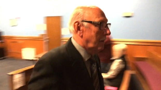 Warrick Pike exits the courtroom in Happy Valley-Goose Bay on Tuesday.