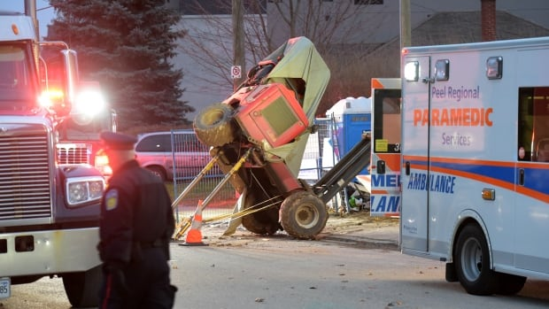 Peel police say a man was operating a forklift to move construction materials when the the machine tipped over and crushed him.