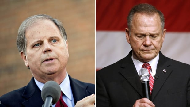 Alabama Senate candidates Democrat Doug Jones, left, and Roy Moore, are shown during campaign events leading up to the Dec. 12, 2017, special election. The race is neck and neck as Moore faces a string of sexual misconduct allegations, but experts say Jones's pro-choice stance, unpopular in conservative Alabama, may be enough to help Moore clinch a victory.