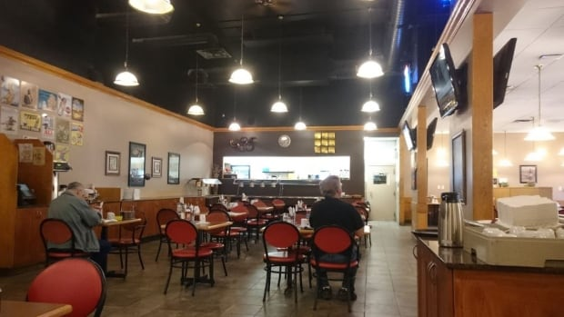 Customers sit for a meal at the Nisku Truck Stop.
