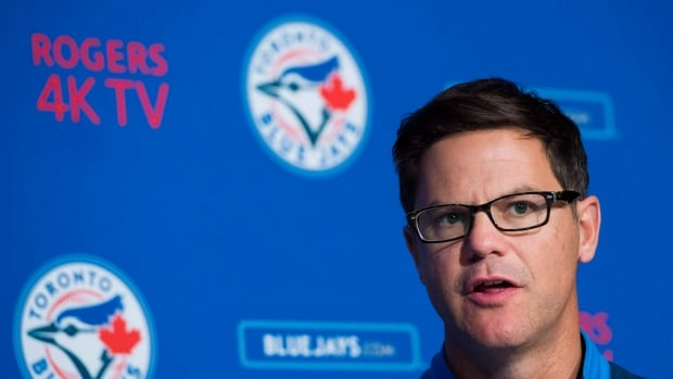 Toronto Blue Jays general manager Ross Atkins speaks to the media during the team's year-end press conference in Toronto on Oct. 3, 2017. Nathan Denette