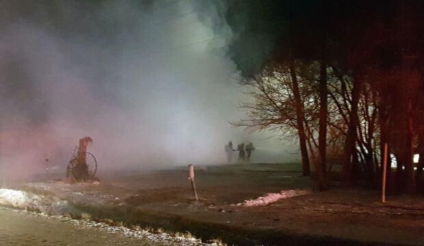 Smoky house fire