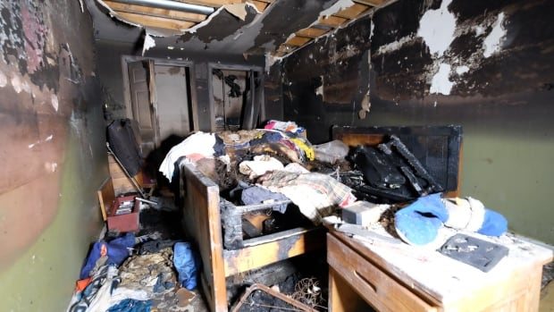 This is a photo of Terri-lynn Robison's bedroom. The Ontario woman's house was destroyed when her husband set the bed on fire. Allstate initially denied her claim, but following a CBC News investigation, the company reached a settlement with her.