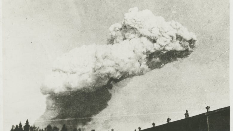 Smoke cloud from the Halifax Explosion, likely taken from McNabs Island.