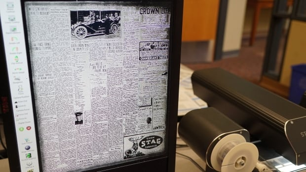 A copy of a 1917 edition of the London Free Press on microfilm in the London Room at the London Public Library.