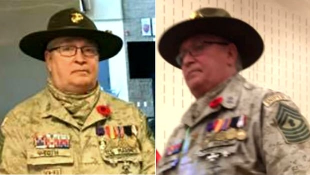 These two images of Peter Toth in uniform visiting schools in Red Deer, Alta., were sent to Stolen Valour Canada by a tipster who questioned authenticity of details on his uniform.