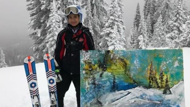 Evan Sharma painted a picture from the top of a mountain at Sun Peaks while attending ski camp.