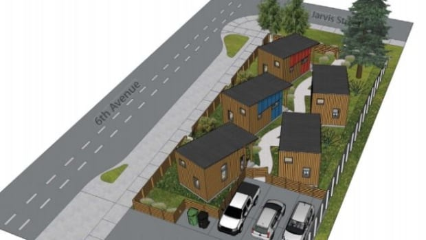 An artist's rendering of the proposed 'Steve Cardiff Tiny House Community Project,' in downtown Whitehorse. The five tiny homes would each be 240 square feet in size.