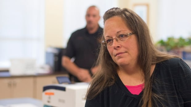 Kim Davis, seen here in 2015, is running for re-election as Rowan County clerk of courts in Kentucky. She made news when she refused to issue marriage licences to same-sex couples after a U.S. Supreme Court ruling allowed it.