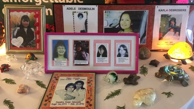 Photographs of the missing and murdered are displayed during the Thunder Bay hearing of national inquiry into murdered and missing Indigenous women and girls.