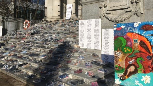 The shoes and list of names were placed in front of the Vancouver Art Gallery on Dec. 6 to draw attention to violence against women.