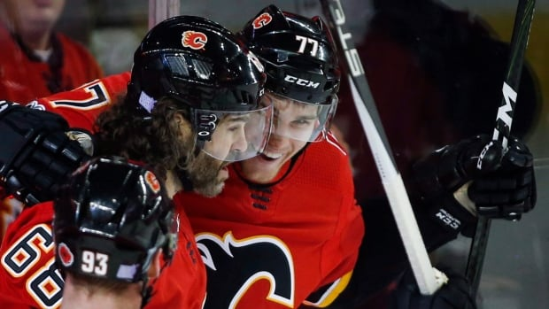 Calgary Flames' Mark Jankowski, right, has lived up to expectations in his first NHL season.