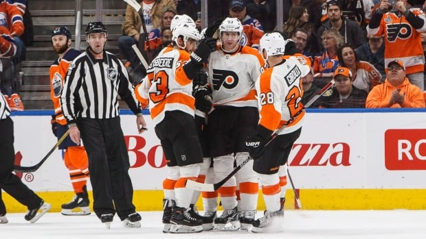 Flyers players celebrate a goal in the second period of Philadelphia's 4-2 win over the Edmonton Oilers on Wednesday.