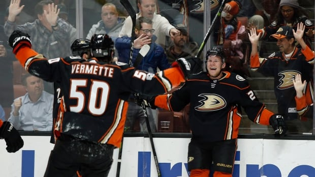 Ducks right winger Ondrej Kase, right, celebrates his goal with centre Antoine Vermette, left, during the second period of Anaheim's 3-0 victory over the Ottawa Senators.