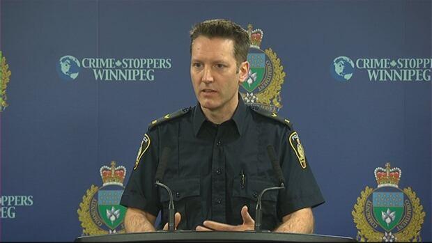 Winnipeg police Const. Stephane Fontaine speaks to media Thursday.