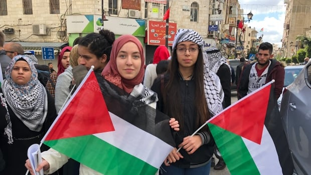 Tala Anati, right, with checkered scarf, was among those who demonstrated in Ramallah on Thursday against the recent U.S. announcement declaring Jerusalem the capital of Israel.