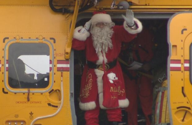 Santa on the helicopter