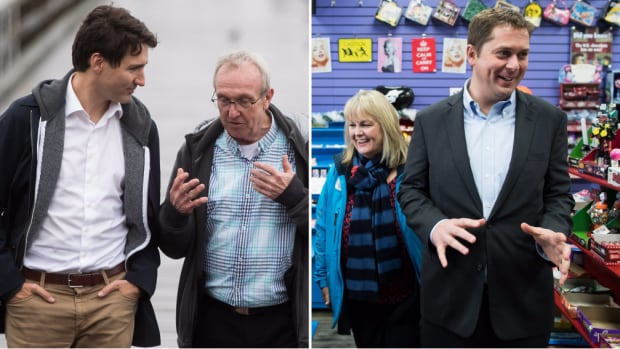 The South Surrey–White Rock byelection candidates and their leaders, from left to right: Prime Minister Justin Trudeau, Liberal candidate Gordie Hogg, Conservative candidate Kerry-Lynne Findlay, Conservative Leader Andrew Scheer.