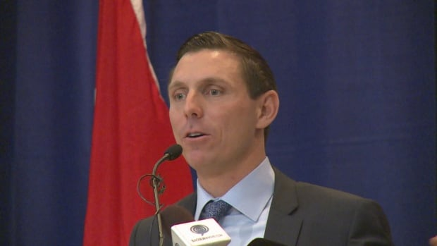 Ontario PC leader Patrick Brown at the Windsor-Essex Regional Chamber of Commerce 141st annual general meeting on Dec. 7, 2017.