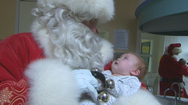 Five-month-old baby Neveah met Santa for the very first time at the Janeway on Thursday.