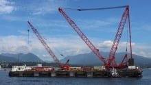The Dynamic Beast crane barge in Vancouver harbour