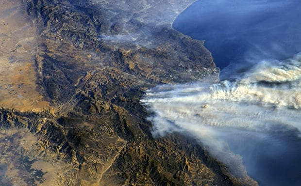 southern California wildfires from ISS