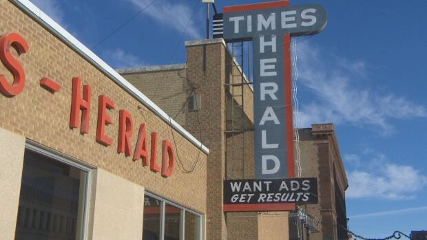 The beautiful front facade of the Moose Jaw Times-Herald building.