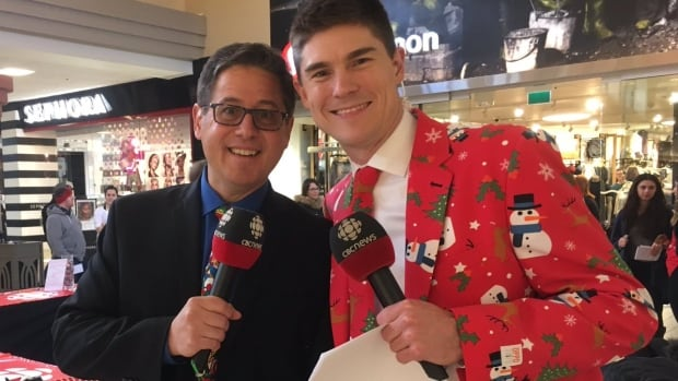 Anthony Germain and Ryan Snoddon were busy at the Avalon Mall in St. John's, wrapping gifts for CBC Feed NL Day.