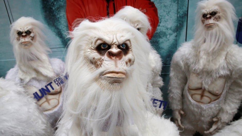 Actors dressed as 'Yeti' attend a promotional event for the Travel Channel. Recently, British filmmakers collected bits of hair, bone, a tooth, a fecal sample, and even a bit of petrified skin all thought to have come from Yeti and had the DNA analyzed.