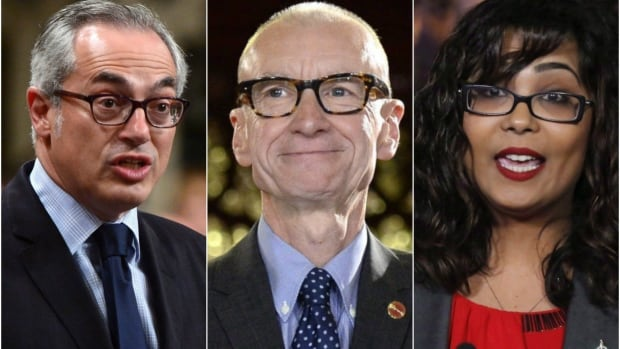 Conservative MP Tony Clement, left, Independent Sen. Tony Dean and Liberal MP Iqra Khalid are among more than 22 parliamentarians who hold dual citizenship.