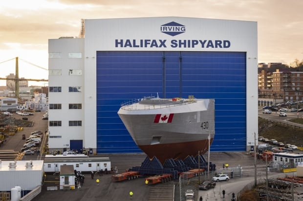 The front section comes out of the shipbuilding facility in Halifax.