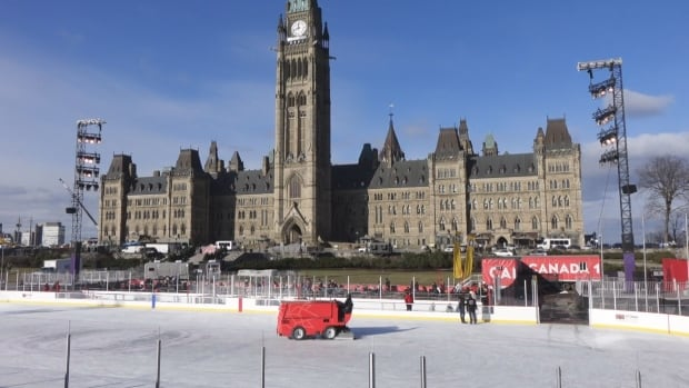 A zamboni resurfaces the ice on the Parliament Hill skating rink every hour.