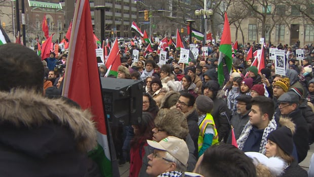 Local pro-Palestinian activists protested Trump's announcement to move the U.S consulate to Jerusalem.