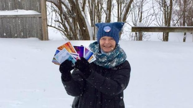 Janet McFetridge, a resident of Champlain, NY, has been handing out hats, mittens, water and snacks at the unofficial U.S. border crossing at Roxham Rd. since March.