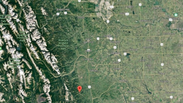 The red marker shows where a wildfire is burning in K-Country, south of Calgary.