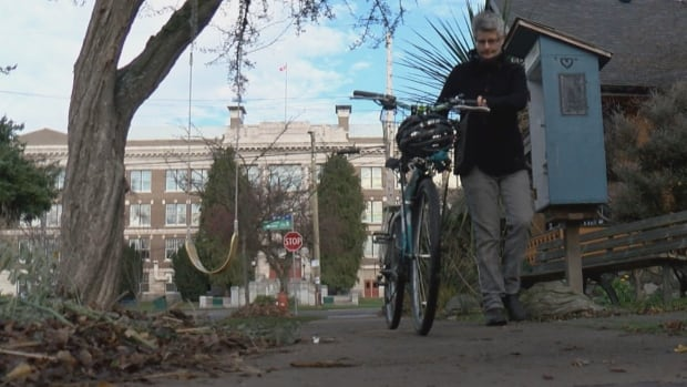 Victoria Mayor Lisa Helps was at an event Friday night when someone put locks on her bike spokes.