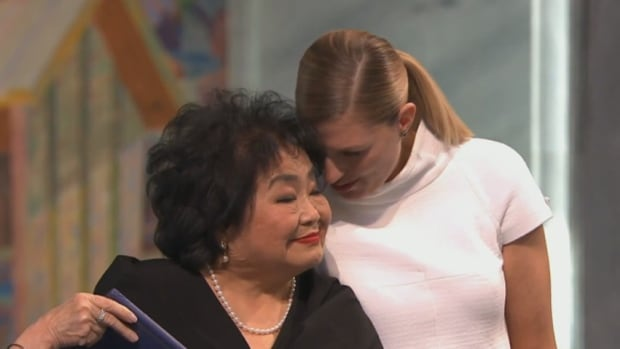 The leader of the International Campaign to Abolish Nuclear Weapons (ICAN), Beatrice Fihn, right, congratulates fellow Nobel peace prize winner Setsuko Thurlow in Oslo on Sunday.