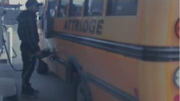 """Police say the bus was used in a """"gas drive-off"""" Saturday."""
