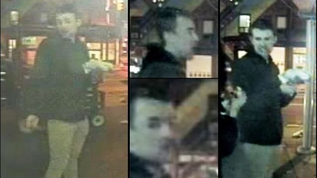 Security camera images of the man Toronto police would like to speak to regarding the death of 22-year-old Tess Richey.