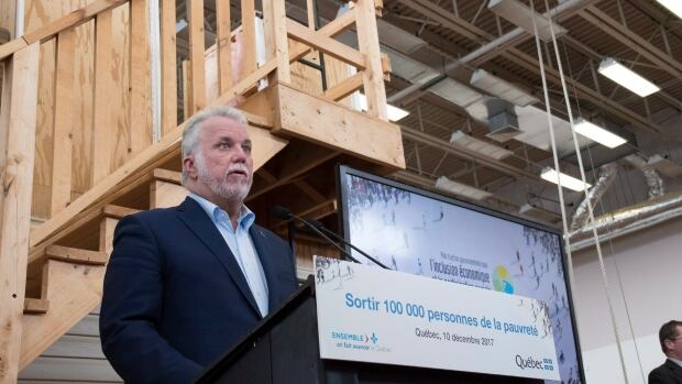 Quebec Premier Philippe Couillard unveiled his government's $3-billion action plan to fight poverty on Sunday.