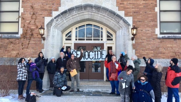 The group Colonialism No More protested in front of Regina's Davin School to push for its name to be changed.