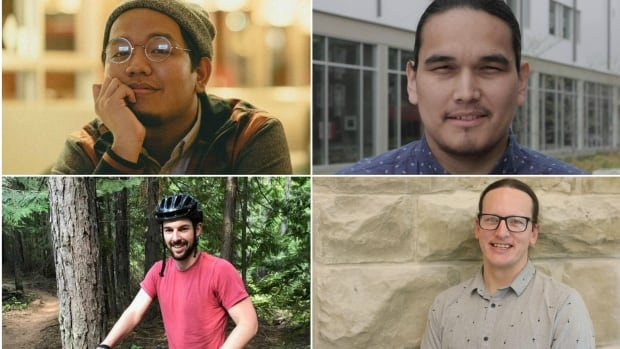 Ally Gonzalo, top left, Kevin Settee, top right, Levi Foy, bottom right, and Brett Stovin, say the idea of masculinity is changing but not fast enough.