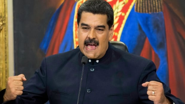 Venezuela's President Nicolas Maduro speaks during a news conference at the Miraflores presidential palace in Caracas in 2017. Maduro's government is planning to launch its own cryptocurrency, called the petro, in a bid to dodge U.S.-led sanctions.