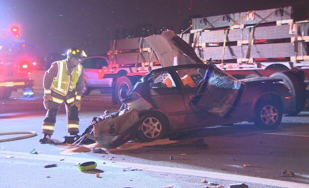 Highway 401 crash Martin Grove Road fatal