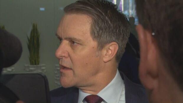 Manitoba Finance Minister Cameron Friesen talks to media in Ottawa Monday.