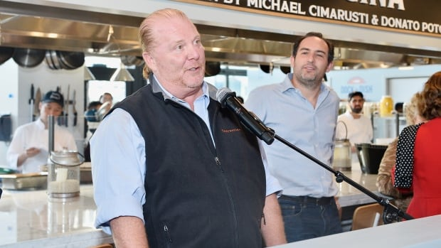 Mario Batali is shown at an event at one of his restaurants last month in Los Angeles. He has now stepped away from his businesses and TV show after complaints alleging sexual misconduct.