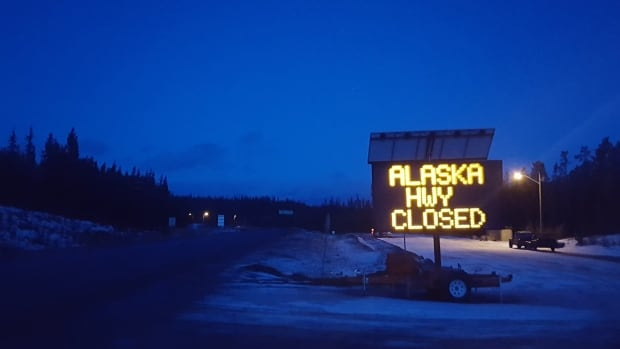 Parts of the Alaska Highway are closed Thursday morning due to icy conditions.