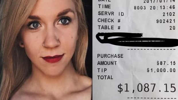 Jennifer Peitsch, who works two jobs to get by, burst into tears when she realized the tip amount was correct.