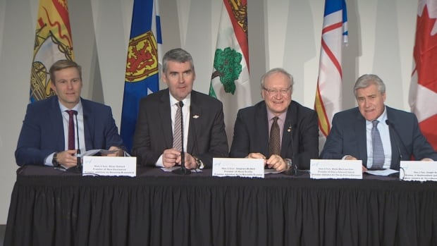 The premiers of the four Atlantic provinces hold a news conference after a meeting in Halifax on Monday, Dec. 11, 2017.